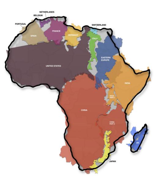 L'Afrique grandeur nature  la carte qui bouscule les idées reçues
